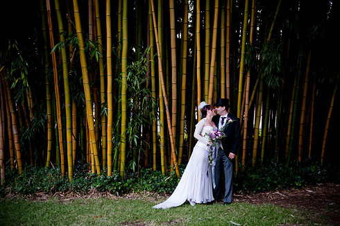 Bride and Groom shot in front of the Bamboo
